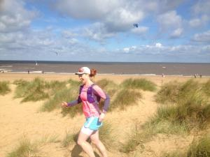 Ace route: Hunstanton to Wells-Next-The-Sea, E.Norfolk Coast. Kite-surfers on the beach in the background. Try it!
