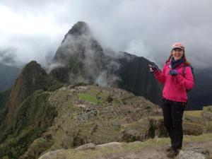 Me, thrilled to meet Machu Picchu after our 4-day Inca Trail trek
