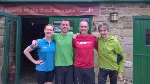 Me with Rob from Mammut, Ian from Dig Deep and Jez from Outside store Sheffield, off for a 5 mile recce of the 12.12 mile race route. It was lush, lots of paths, fields and riverside running with plenty of hilliness. Can't wait for the race!