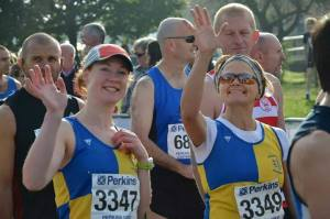 Loads of others from Stamford Striders got great pbs, including Hilary here my good buddy, here we are before the race