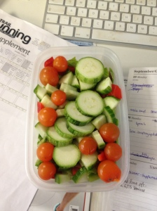 My super healthy 1kg fat-losing lunch, my mum's home grown corgettes, tomatoes and beans taking the staring role.