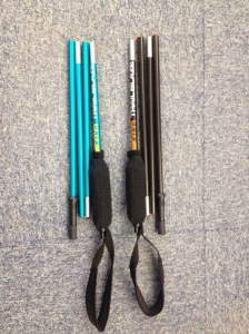 Blue aluminium Trail Blaze poles and their new carbon version. I'm taking the carbon, they feel much lighter. :)