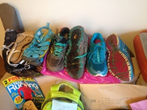 Taking a lot of shoes - Kurt Geiger sandals, Keen watery shoes, Saucony Exodus 5, Brooks Adrenaline ASR