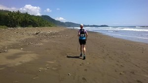 Just when you think it can't get any hotter, the last 5k is along the beach, but hey I saw a dolphin jumping the surf! (Day 2 heading to Dominical)