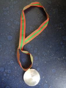 Wow, a medal for my Costa Rican race, made by Stuart from Striders! Thilled!!!