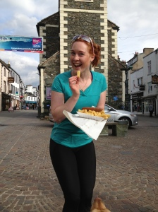 A cheeky chip before I set off on the Bob Graham round from the Moot Hall in Keswick, Lake District...final carb loading...